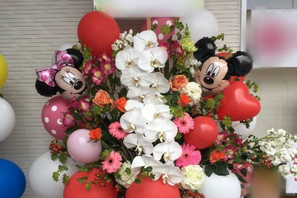 ミッキーとミニーのバルーン入りスタンド花【熊本の花屋・バルーン専門店KIKI】