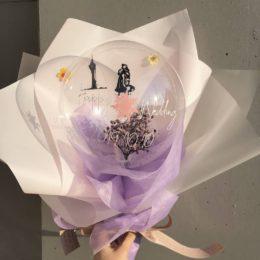 ◆プリザーブド入りクリアバルーンブーケ◆【熊本の花屋・バルーンショップKIKI】