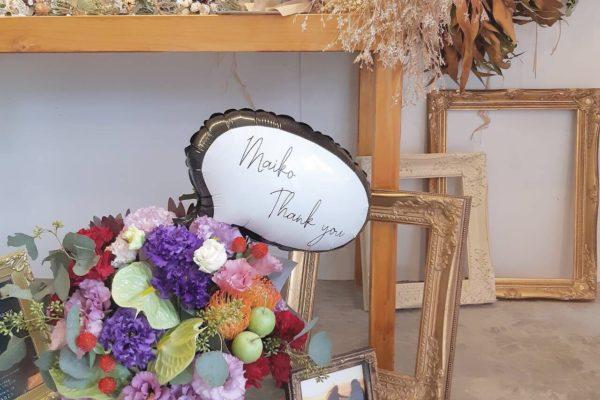 オリジナルメッセージ入りバルーン&フラワーアレンジ【熊本の花屋・バルーンショップKIKI】