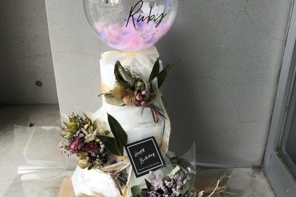 おしゃれでかわいいスペシャルサイズおむつケーキ【熊本の花屋・バルーンショップKIKI】