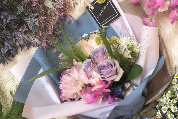 パステルカラーの生花ブーケ【熊本の花屋・バルーンショップKIKI】