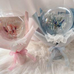 可愛い置き型のフラワーINバルーン【熊本花屋・フラワーバルーンKIKI】